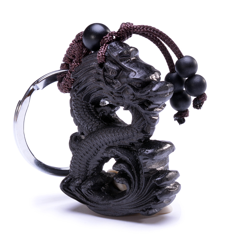 Kinesiska Traditionella Handgjorda Träprodukter Ebony Trä Lycka Peace Winding Chinese Dragon Car Key Ring Pendant Nyckelring