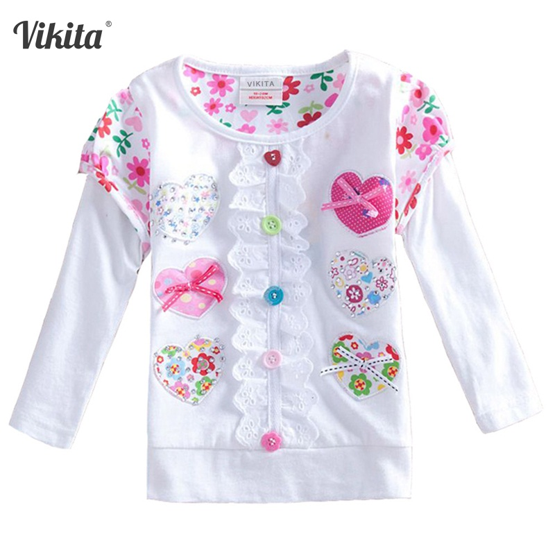 купить VIKITA T-shirt for Girls Long Sleeve Girls Tops Autumn Winter Kids Tshirt Children Flower Lace Tops T shirt for Children L339 по цене 539.22 рублей
