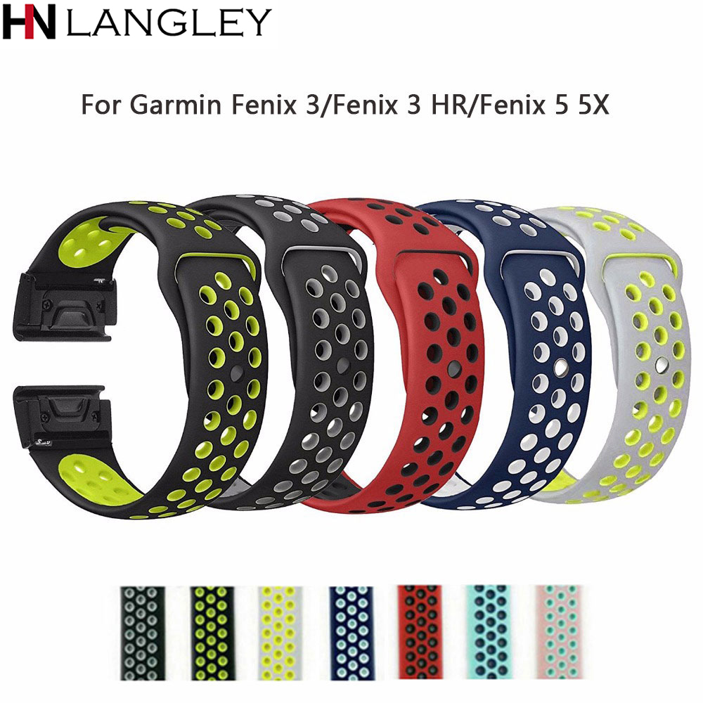 26mm 22mm Soft Silcone Band For Garmin Fenix 3/Fenix 3 HR/Fenix 5 5X Wristband Quick Fit Band Bracelet strap Watch Bands 22mm watch band accessories stainless steel quick fit release watch bands straps for garmin forerunner 935 fenix 5