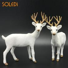 Nordic White Deer Decorations 2 Size Standing animal home decor Reindeer Toy Plush Reindeer Elk Deer Pendant Ornaments