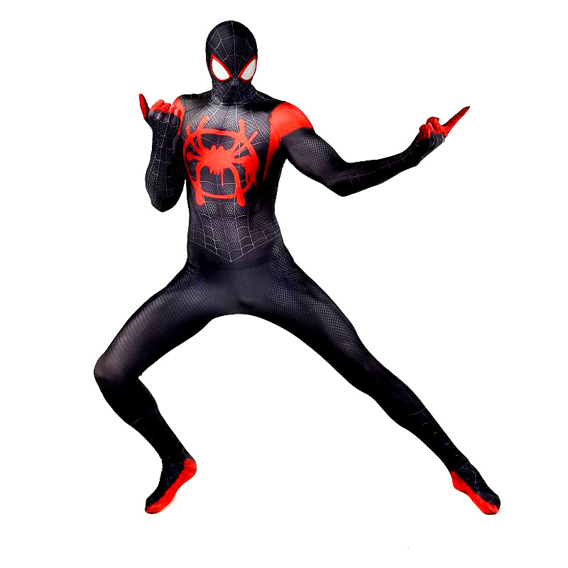 Spider-Man Into the Spider-Verse Miles Morales Cosplay Costume Zentai Spiderman Bodysuit Suit Jumpsuits For Adult Men Kids