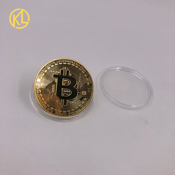 Gold Plated Physical Bitcoins Bit Coin BTC With Case And Nice Gift Box Physical Metal Antique Imitation BTC Coin Art Collection