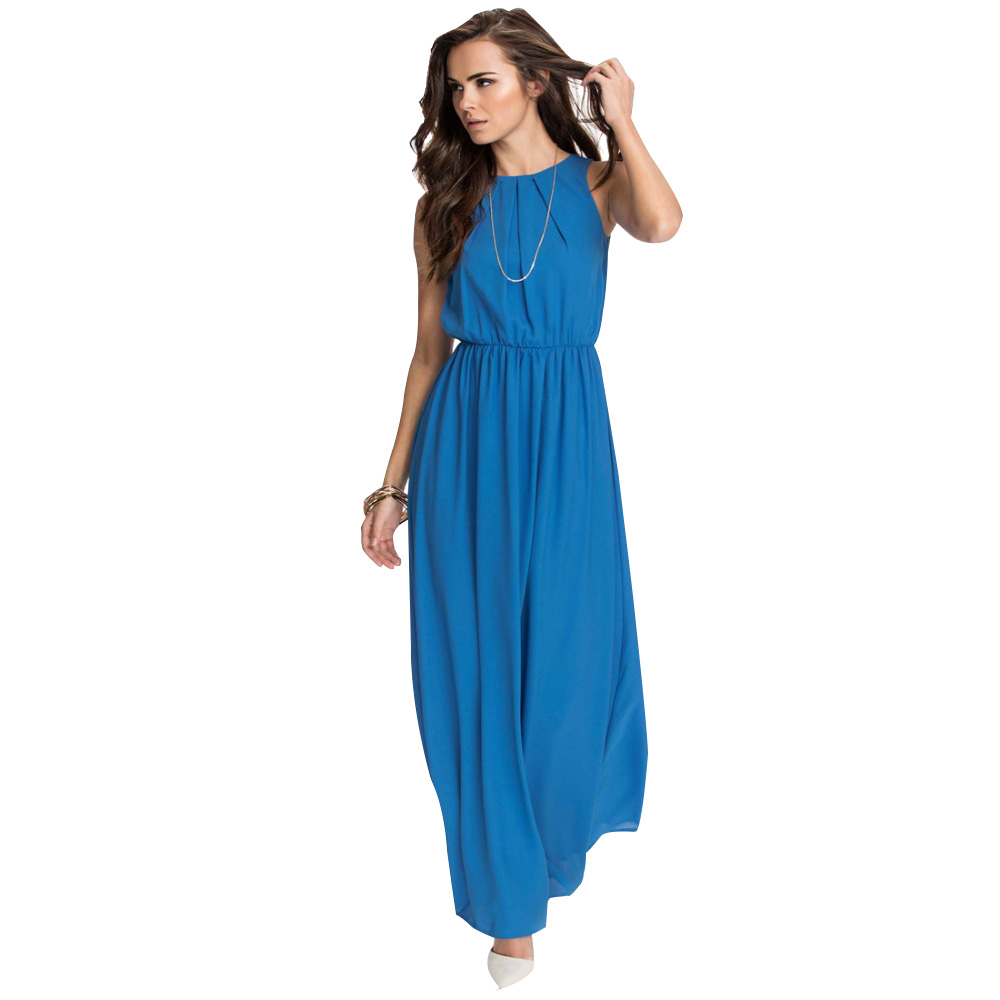 Buy Cheap Women's 2017 New Beach Hot Blue Red Chiffon Plus Size O-Neck Backless Sexy Maxi Long S-5XL XXXL 4XL 5XL Summer Dress