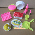 Funny toys for baby girls play house toys plastic food cake cup bottle Kitchen  kit For Barbie doll for kelly doll