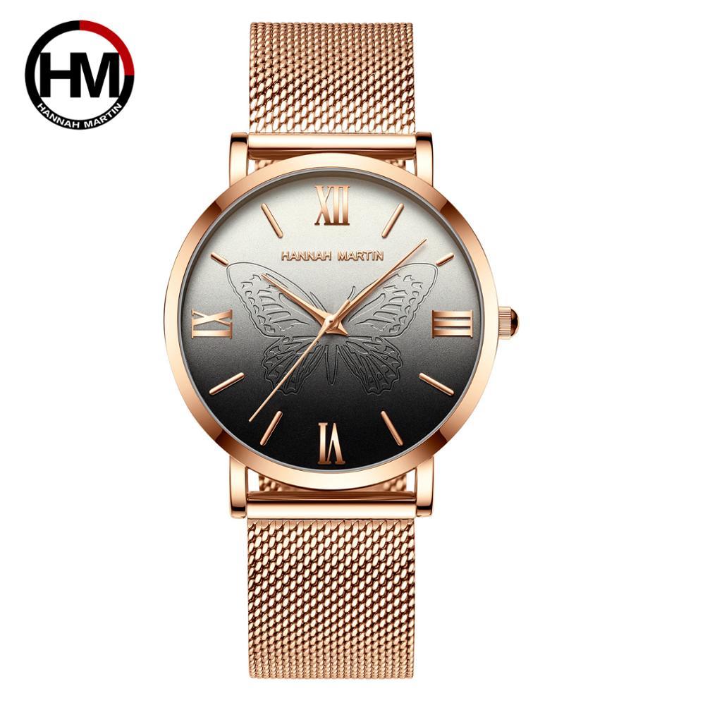 relogio feminino 2019 Top Brand Luxury Women Japan Quartz Watch 3D Pink Butterfly Watch Stainless Steel Waterproof Wristwatches in Women 39 s Watches from Watches
