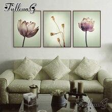 FULLCANG diy 3pcs/set diamond embroidery purple lotus triptych mosaic painting full square/round drill handicraft flowers FC796