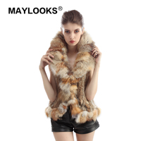 2018 Natural New Rabbit Fur Waistcoats Women Genuine Knitted Rabbit Fur Vest Fox Fur Collar Gilet Lady Winter Fur Jacket QF47