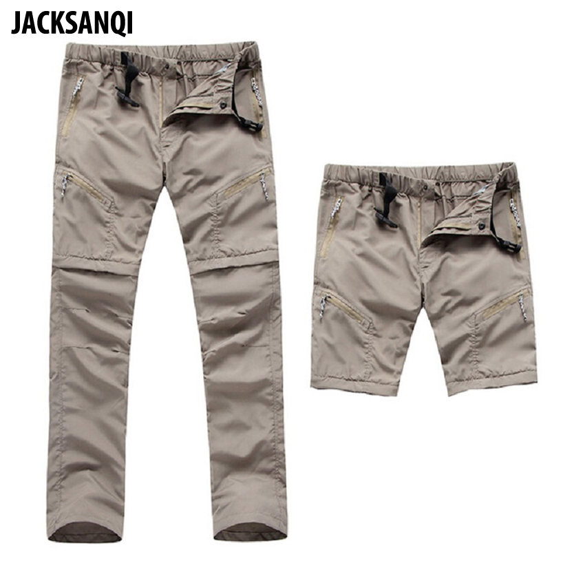 JACKSANQI Men's Quick Dry Detachable Hiking Pants Outdoor Sport Summer Camping Trekking Fishing Shorts Breathable Thousers RA068