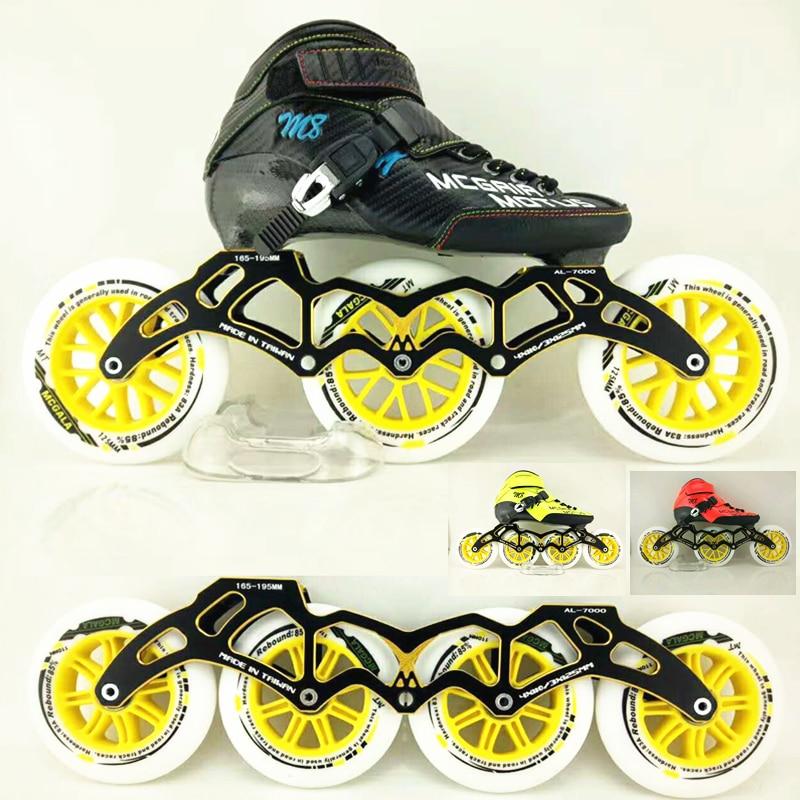 3X125mm Marathon Racing 4X110mm Indoor Track Speed Skating Shoes Carbon Fiber Professional Inline Speed Roller Skates