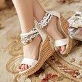 Envío libre NUEVAS cuñas sandalias de moda las mujeres se visten sexy zapatos zapatillas venta caliente primavera y el verano de Bohemia