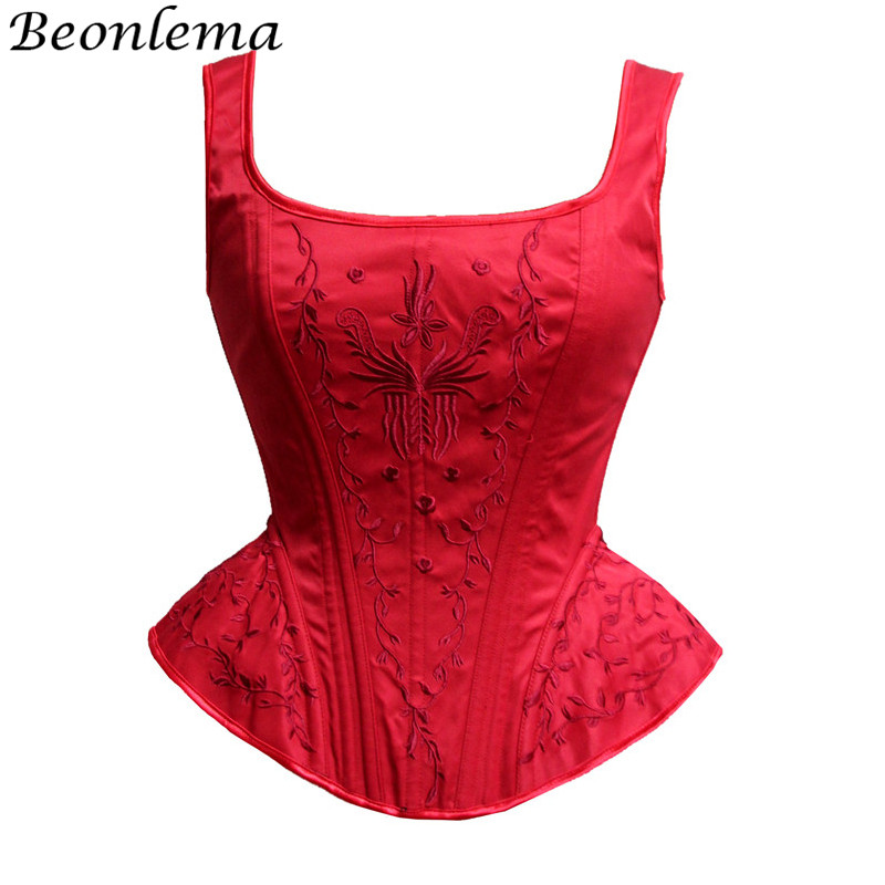 Corset   Sexy   Bustier   Wedding   Corsets   and   Bustiers   Lace up Embroidered Sexy korset Corsage Waister Hardware Zip Corselet