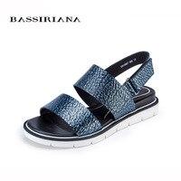 Summer 2017 Genuine Leather Flats Sandals Women Shoes Blue Silver Color 35 40 Size Back Strap