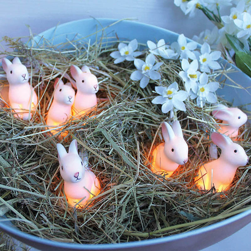 New Arrival 10/20 LEDs String Light Easter Rabbit Bunny Decoration Battery Powered Pure White