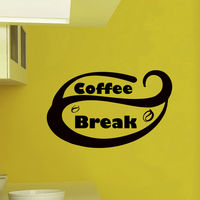 Coffee Break Quote Decal Wall Vinyl Decals Home Decor Sticker