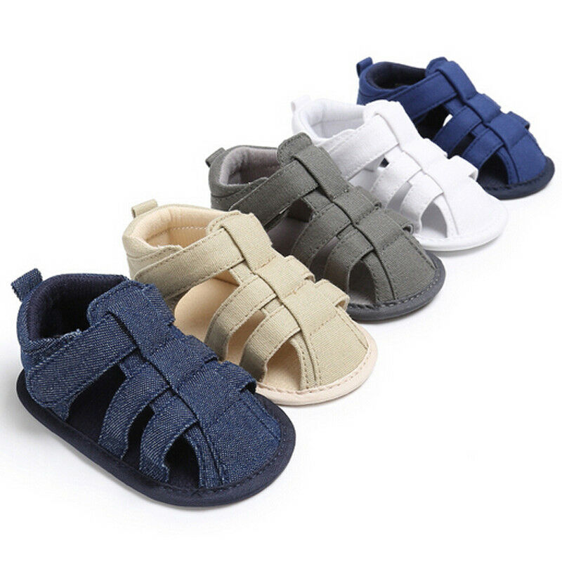 Emmababy Toddler Newborn Kids Baby Boys Sandals Shoes Soft Canvas Sole Crib Sneakers Flat With Comfortable High Quality 5 Colors