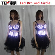 2016 Fashion Luminous Sexy Lady Clothing Led Bra and Luminous Girdle For Night Club Led luminous Sexy Women Suit