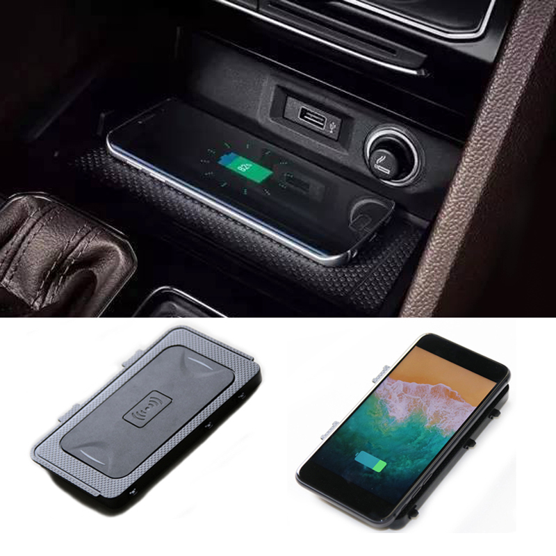 For VW Teramont 2017 2018 car mount QI wireless charger fast wireless charger car phone charger center console phone adapter for vw teramont 2017 2018 car mount qi wireless charger fast wireless charging accessories for iphone x 8 plus for samsung s7