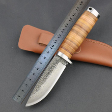 Fixed Handmade Knife Forged Damascus Pattern Steel Blade Straight Outdoor Hunting Knife with Leather Handle & Sheath T