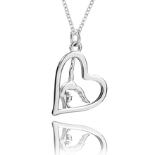 2018 New 925 Sterling Silver Chain Pendant  Necklace Fashion Jewelry Heart with Dancing Women Necklaces & Pendants For