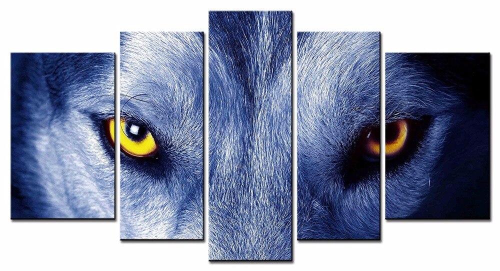 5 st ck leinwand tier wolf bilder drucken. Black Bedroom Furniture Sets. Home Design Ideas