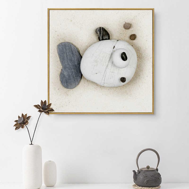 ミニマリストのキャンバスの壁の写真北欧スタイル抽象 3D 石の魚ポスター A4 絵画オフィスベビールームの壁画家の装飾