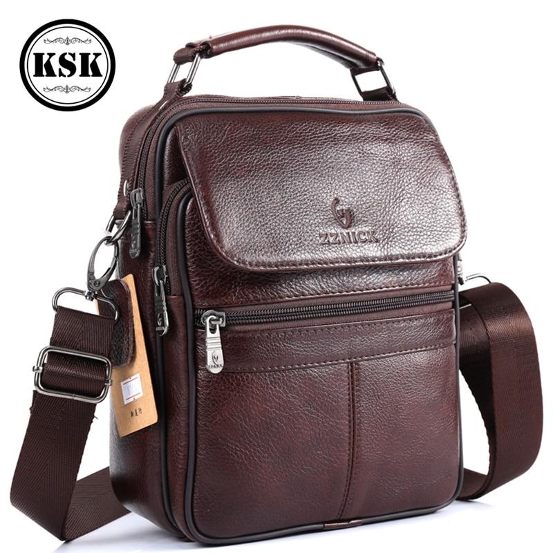 Image 4 - Men Bag Messenger Bag Genuine Leather Bag Shoulder Handbag Luxury Handbags Flap Crossbody Bags For Men 2019 Fashion KSKCrossbody Bags   -