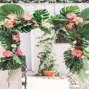 Image 4 - WEIGAO מלאכותי עלים דקל טרופי צמח עלים הוואי ואאו ספקי צד קישוטי אלוהה ג ונגל חוף יום הולדת דקור