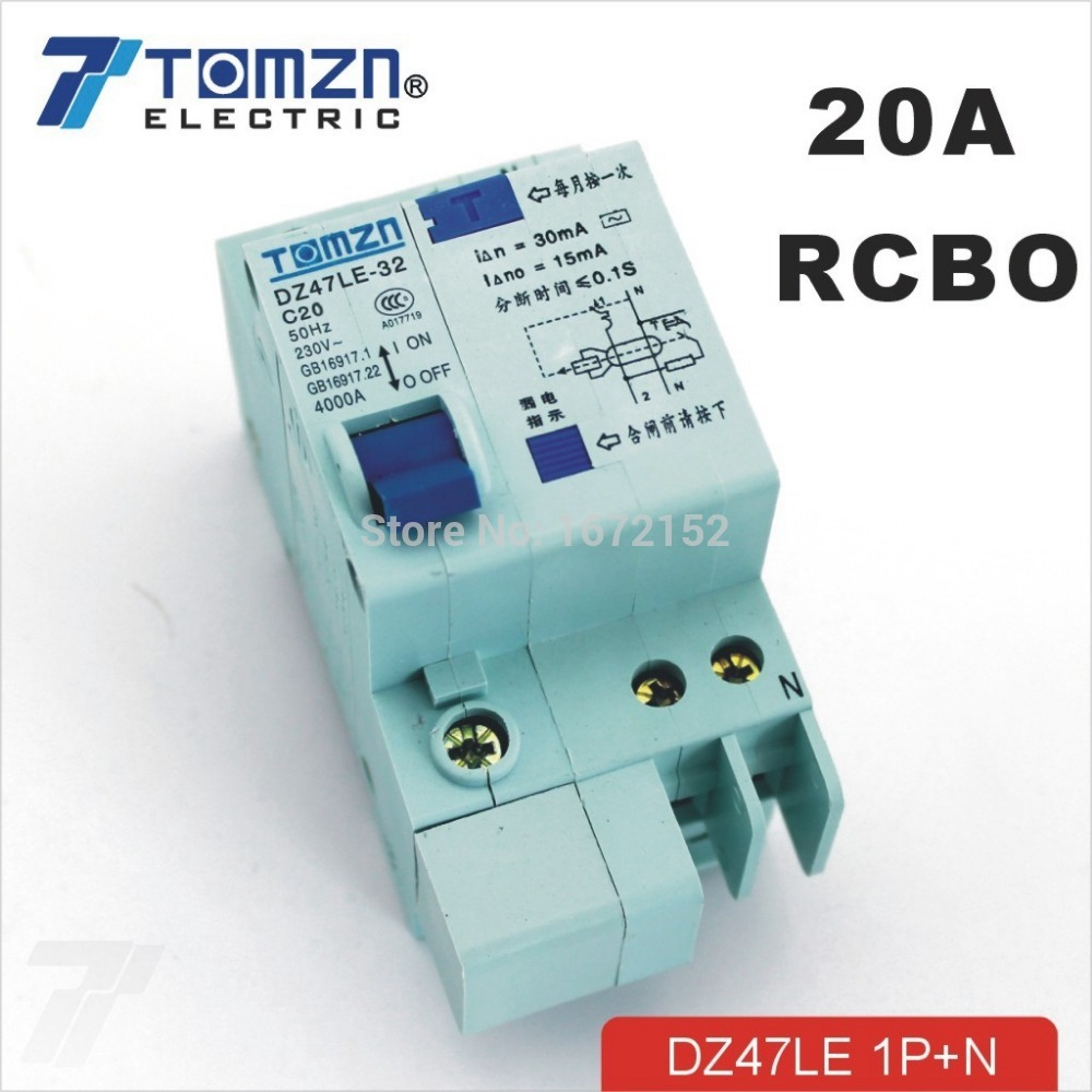 DZ47LE 1P+N 20A 230V~ 50HZ/60HZ Residual current Circuit breaker with over current and Leakage protection RCBODZ47LE 1P+N 20A 230V~ 50HZ/60HZ Residual current Circuit breaker with over current and Leakage protection RCBO