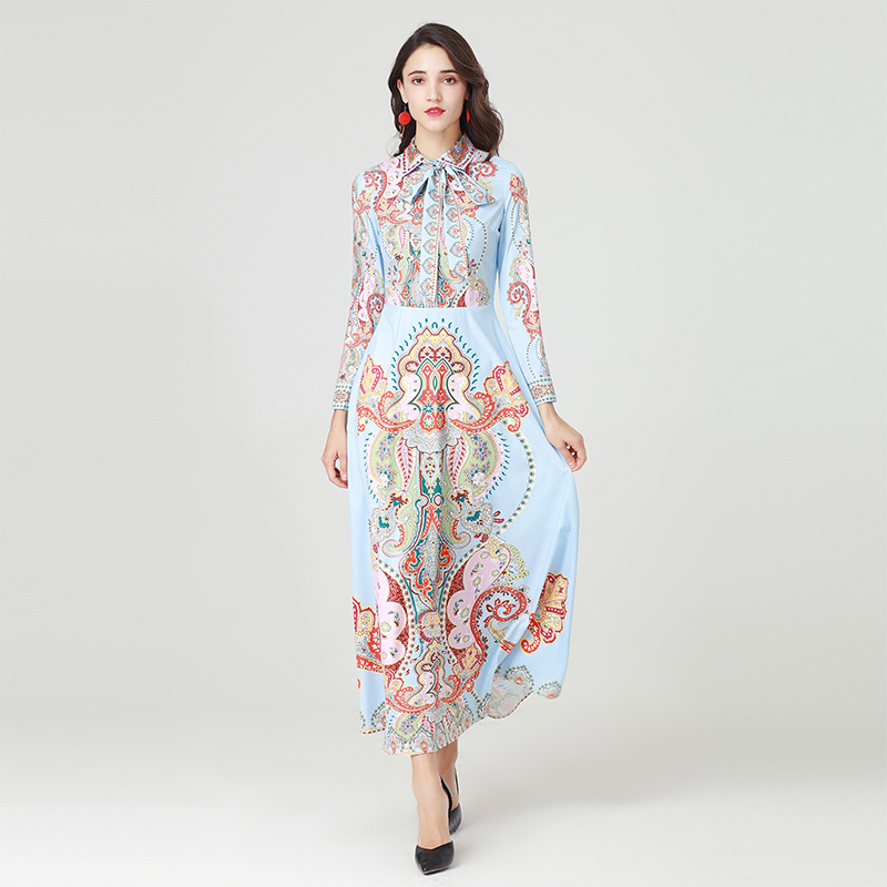 Collier Robe Pleine Femelle Turn 2019 down Fille Impression Mignon Douce Printemps Manches Jolie Longue Chaude Qualité Arc Haute 66HRfq