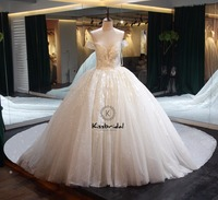 2018 Luxurious Wedding Dresses Royal Train Sexy Off the Shoulder Lace Up Back Ball Gown Bride Dress