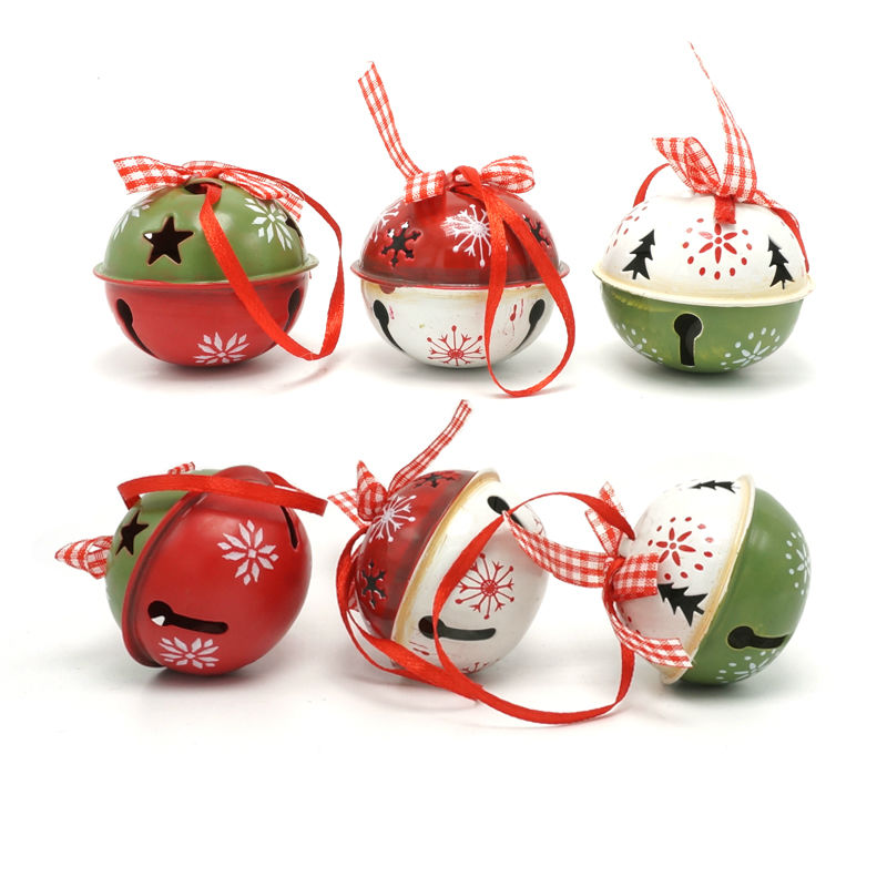 Bell Decorations Unique Christmas Decoration For Home 6Pcs Red Green White Metal Jingle Design Ideas