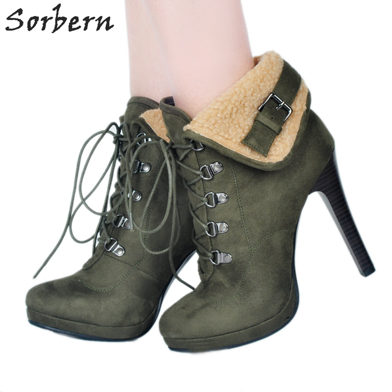 Sorbern Arm Green Ankle Boots For Women Platform Shoes Fake Wool Decoration Ladies Shoes Size 44 High Quality Women Fashion 2018