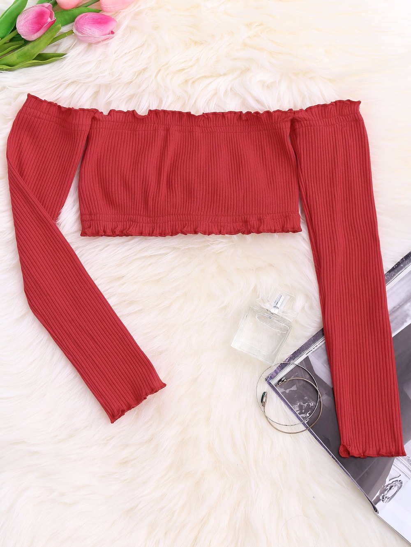 HTB1v2s9RpXXXXXoXXXXq6xXFXXXZ - Frilled Off The Shoulder Crop Top Summer Floral Knitted Female Tops JKP006