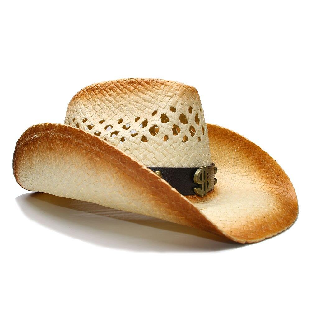 Summer Wide Brim Straw Sun Beach Cowboy Western Hat Hollow Dollar Leather Band