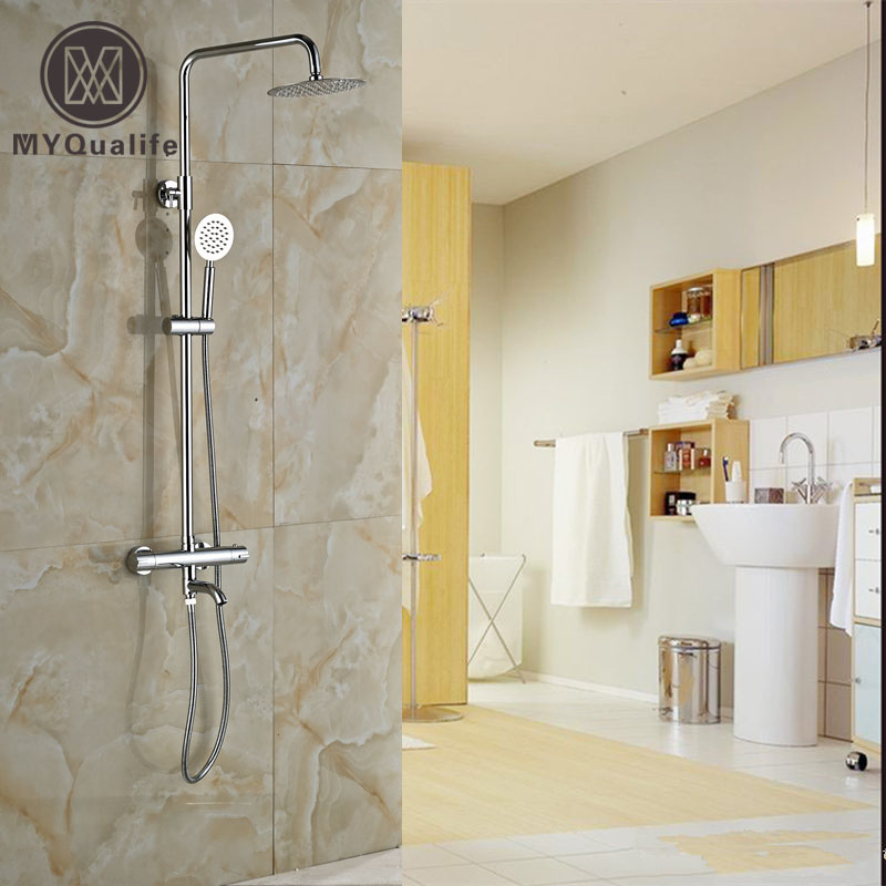 Thermostatic Shower Mixer Faucet Set Wall Mounted Dual Handle 8 Rainfall Shower Faucet System Chrome Finish mojue thermostatic mixer shower chrome design bathroom tub mixer sink faucet wall mounted brassthermostat faucet mj8246