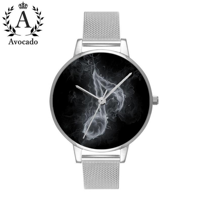 Avocado Smoke Music Symbol Watch Minimal Silver Stainless Steel Women Watches Relojes Mujer Bear Quartz Leather Wrist Watches