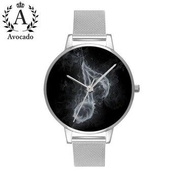 Avocado smoke music symbol watch minimal silver stainless steel women watches Relojes Mujer Bear Quartz Leather Wrist Watches calvinklein minimal series quartz watch k3m2312x