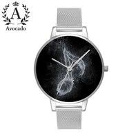 Awokado dymu muzyka symbol zegarka minimalnej srebrny ze stali nierdzewnej kobiet zegarki Relojes Mujer niedźwiedź skórzane zegarki kwarcowe w Zegarki damskie od Zegarki na