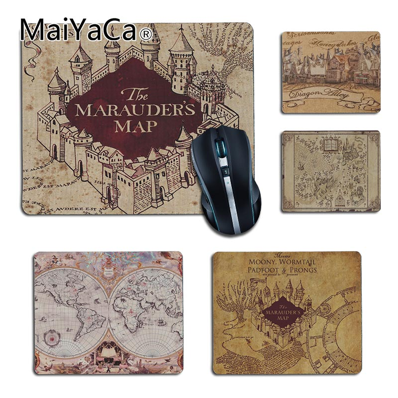 MaiYaCa Funny Harry Potter Marauders Map Comfort small Mouse Mat Gaming Mouse pad Size 25x29cm 18x22cm Rubber Mousemats maiyaca rainbow pastel watercolor moroccan pattern prints mouse pad small size round gaming non skid rubber pad