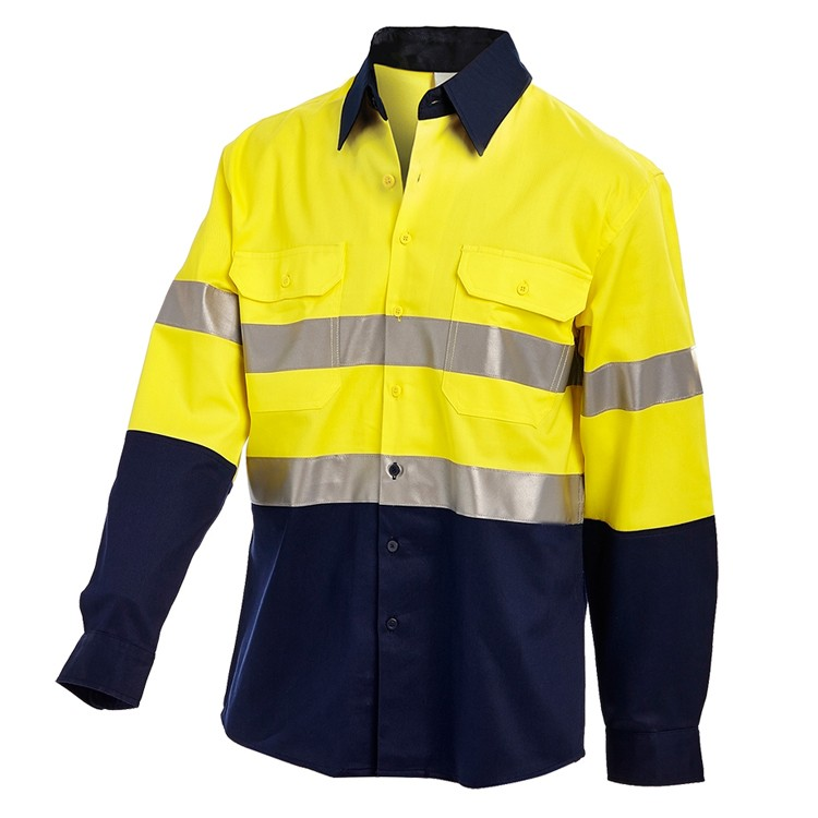 SPARDWEAR Hi Vis two tone long sleeve yellow light weight reflective safety shirt 100% cotton work shirt free shipping jiade two tone hi vis safety vest reflective