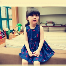 Mommy or Baby Family Matching Cherry Vest Dress Clothes Mother Daughter Dresses Girls Kids Dress Hot