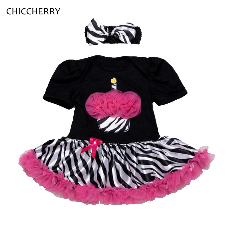 Cupcake Zebra Print Lace Petti Rompers Tutu Dress with Headband Toddler Birthday Outfits Vestido Bebe Newborn Baby Girl Clothes