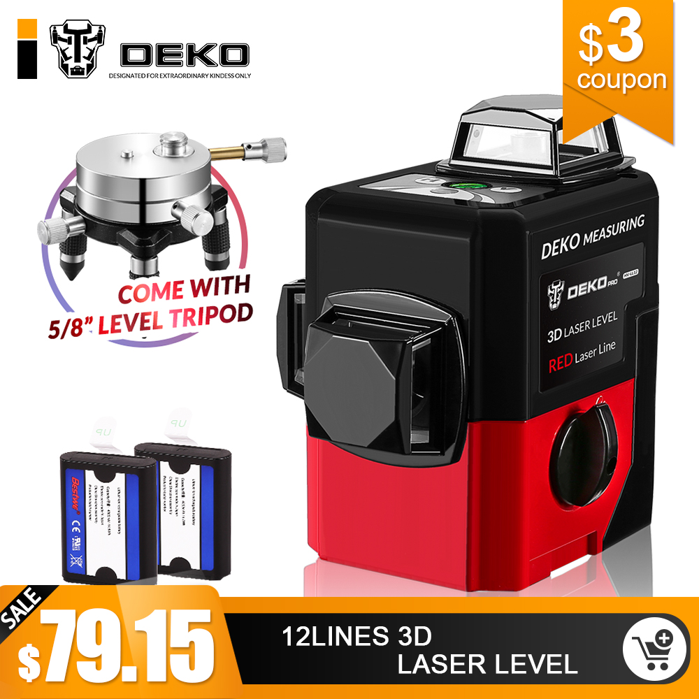 DEKO LL12-HV 12 линий 3D лазерный уровень самонивелирующийся 360 degre горизонтальный и вертикальный крест мощный открытый может использовать детекто...