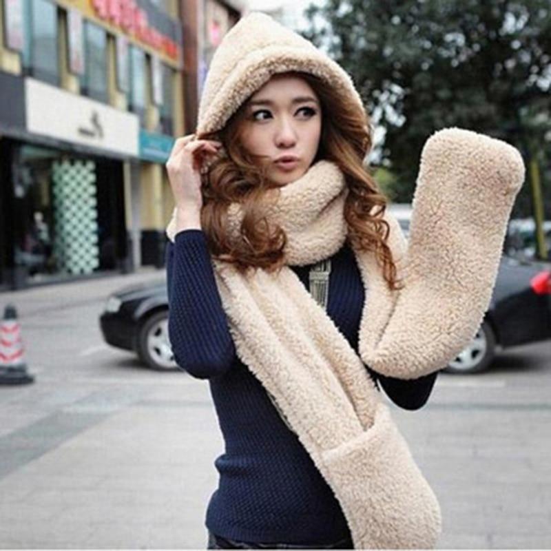 3 Piece Sets Women Winter Warm Soft Hood Scarf Snood Pocket Hats Gloves Fashion Hooded Srarves Scarf Hat Glove