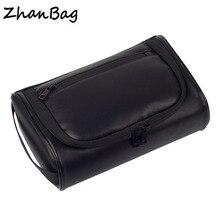 Из водонепроницаемой искусственной кожи сумка-Органайзер для мужчин черные кожаные женские однотонные Косметика комплект с сумкой мужская косметичка дорожная несессер случае
