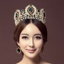 Wholesale green crystal luxury princess tiara QUEEN CROWN Europea large size wedding hair Jewelry