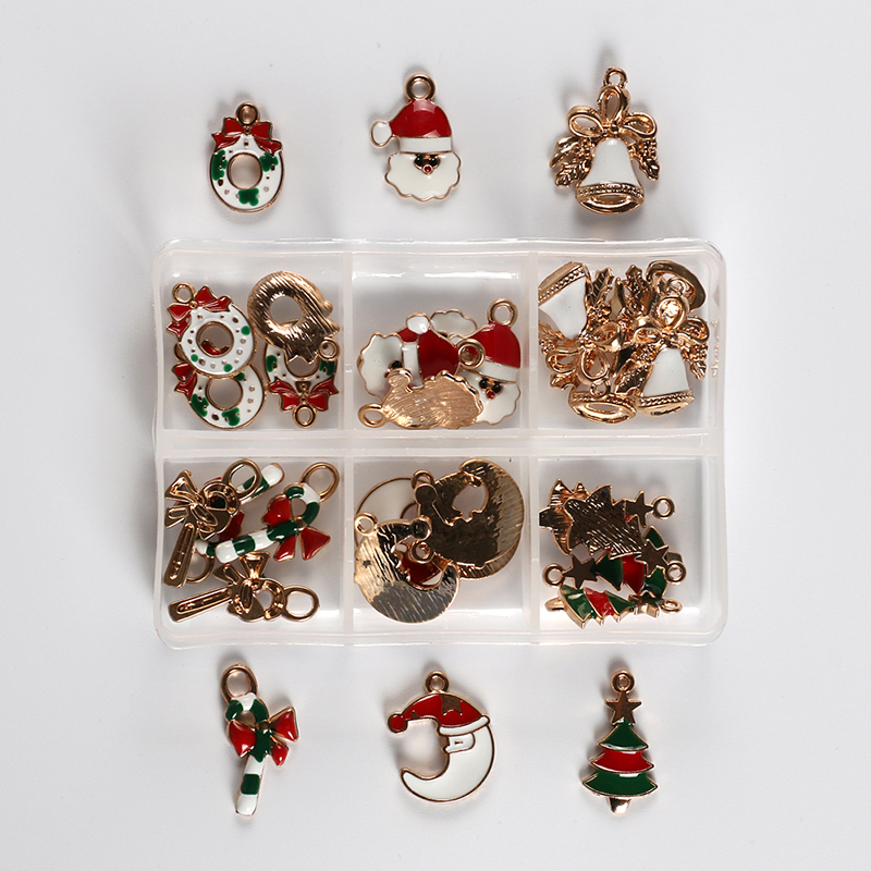 30pcs/Box Christmas Tree Oil Pumpkin Charms DIY Metal Necklace Keychain Jewelry Accessories Santa Claus Bell Cane Decorations fashion deer bell head band christmas decorations