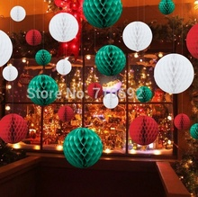 27pcs Christmas Decor Red Green White 8cm/15cm/20cm Tissue Paper Honeycomb Balls Lanterns  Supplies Crafts Gift