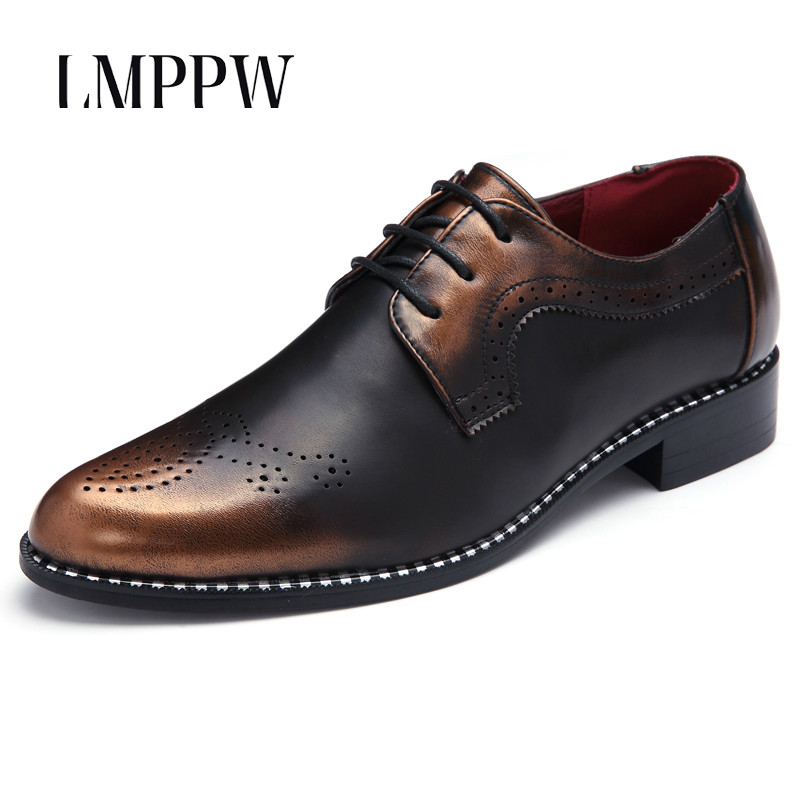 British Fashion Brogue Men Oxfords Shoes Classic Business Casual Shoes Flats for Mens Dress Wedding Party Shoes Black Gold Red 8 top quality crocodile grain black oxfords mens dress shoes genuine leather business shoes mens formal wedding shoes