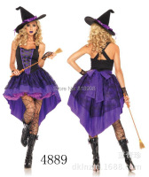 Halloween party vestidos dress for women Purple dovetail the witch costume Seductive Wear